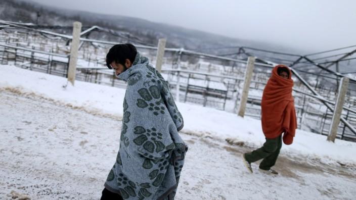 Snowfall at the burned migrant center 'Lipa' in Bihac