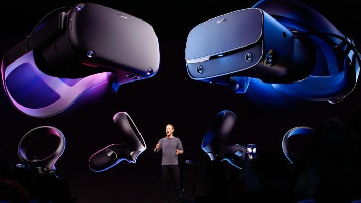 Netzkolumne: Facebook-Chef Mark Zuckerberg stellt 2019 das Oculus Quest Virtual-Reality-Headset vor. Künftig könnten User mit Hilfe solcher Brillen ins Internet gelangen und dort genau jene Version von Realität sehen, die den Firmen passt.