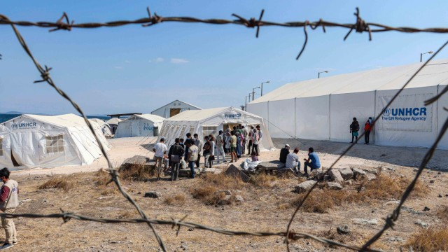 Refugees In The New Refugee Camp In Lesbos Island