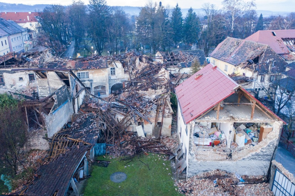 Damaged buildings are seen after an earthquake in Petrinja