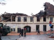 Aftermath after an earthquake in Petrinja, Croatia A damaged buildings after an earthquake, in Petrinja, Croatia Decemb