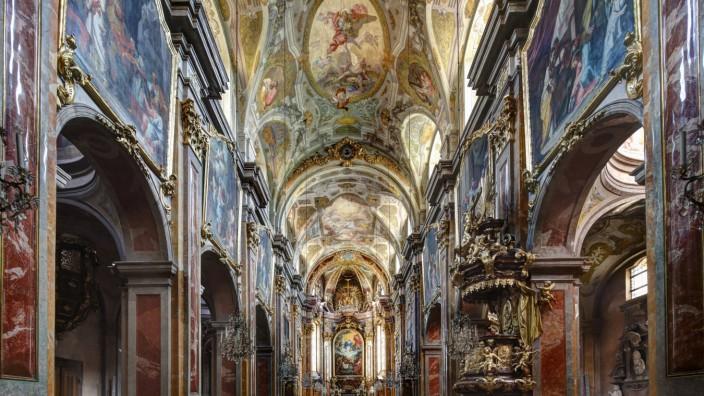 Austria Lower Austria Mostviertel St Poelten View of Dom Maria Himmelfahrt Cathedral with fresc