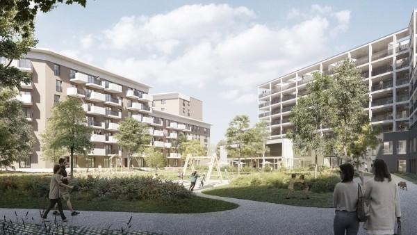 Auf dem südlichen Oberwiesenfeld haben die Rohbauarbeiten für ein neues Wohnquartier begonnen.
