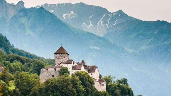 Close view of Vaduz castle and Alps, Lichtenstein (vkovalcik)