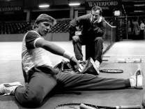 Boris Becker (BR Deutschland) und sein Trainer Bob Brett