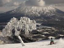 Skifahren in Niseko, Japan: Abfahrt mit Blick auf den erloschenen Vulkan Yotei
