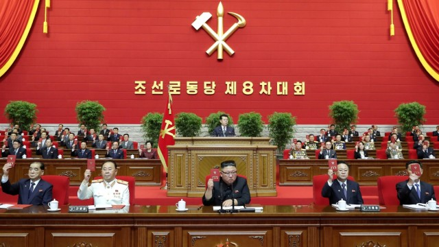 North Korean leader Kim Jong Un attends the Workers' Party congress in Pyongyang