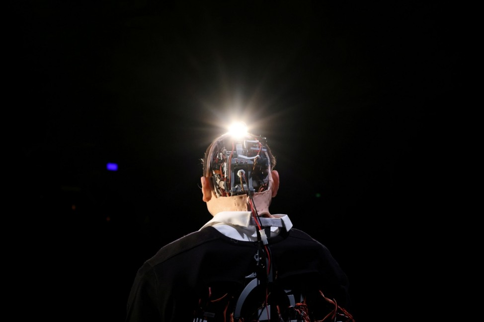 An animatronic robot performs  'Uncanny valley' during Santiago a Mil International Theatre Festival in Santiago