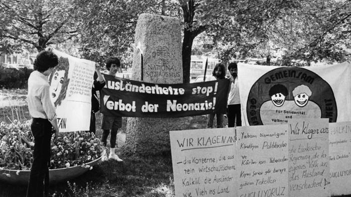 Mahnwache gegen Fremdenhass in München, 1982