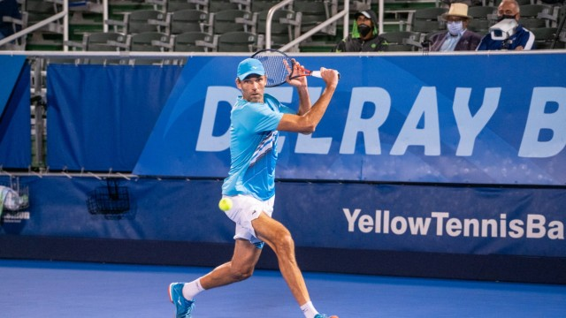 DELRAY BEACH, FL - JANUARY 08: Ivo Karlovic (CRO) competes during round 1 of singles at the ATP, Tennis Herren Delray Be