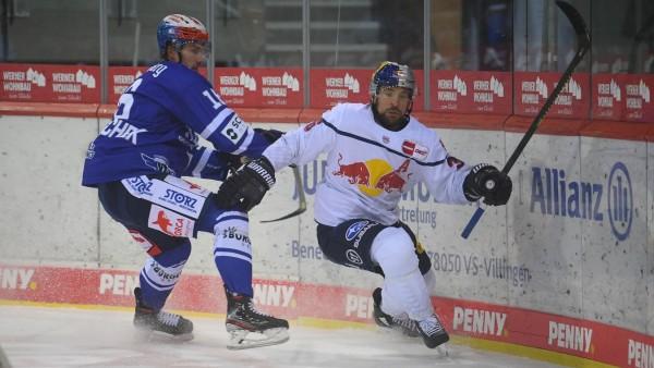 (v.l.n.r.) Maximilian Hadraschek (Schwenninger Wild Wings) Yannic Seidenberg (Red Bull Muenchen) GER, Eishockey, DEL, Sc; Eishockey