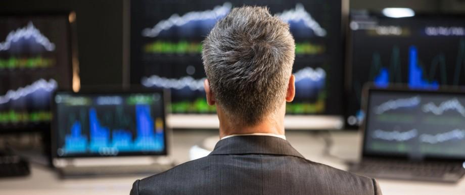 Rear View Of A Male Stock Market Broker model released Symbolfoto PUBLICATIONxINxGERxSUIxAUTxONLY