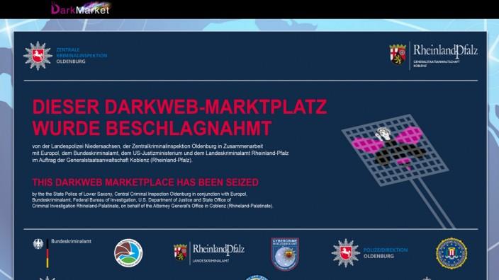 """Darknet: Banner der Staatsanwaltschaft auf Handelsseite """"Darkmarket"""""""