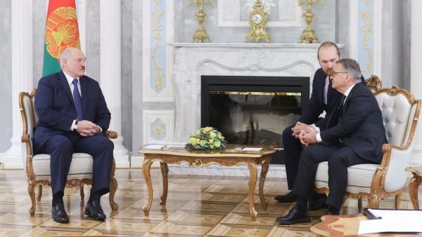 MINSK, BELARUS - JANUARY 11, 2021: The President of Belarus, Alexander Lukashenko (L), and the President of the Internat