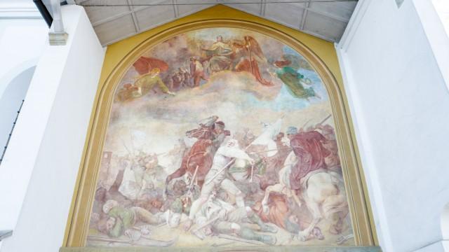 Bauernschlacht-Fresko an der alten Sendlinger Magaretenkirche