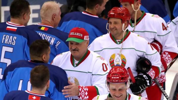 MINSK, BELARUS - JANUARY 3, 2020: Belarus President Alexander Lukashenko (C) after a match between the Belarusian Presi