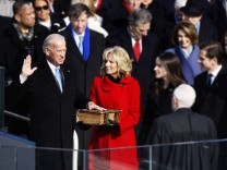 Vice President Joe Biden and his wife Jill Biden takes the oath of office at the swearing in ceremon