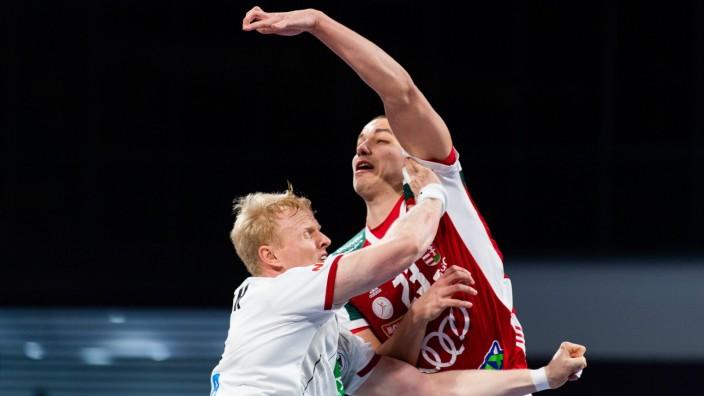 210119 Sebastian Firnhaber of Germany and Dominik Mathà of Hungary during the 2021 IHF World Handball Championship matc