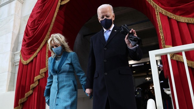 January 20, 2021, Washington, District of Columbia, USA: President-elect Joe Biden arrives with his wife Jill Biden for