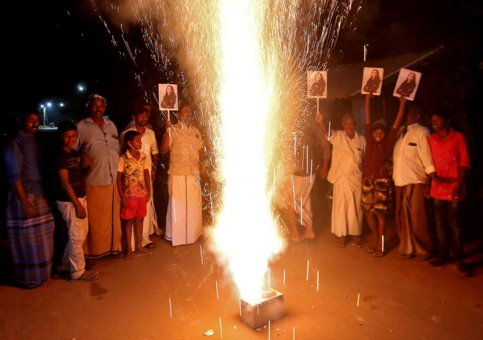 People celebrate after Harris was sworn in as U.S. VP n Thulasendrapuram