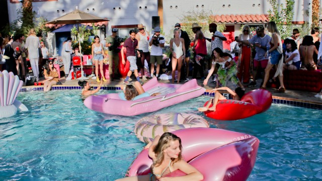 April 14 2018 Palm Springs California U S Playboy pool party VIP special guests at the Playb
