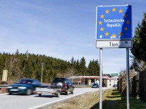 Schaerding, Deutschland - 16.03.2020: Kontrollen an der Grenze zwischen Bayerisch Eisenstein und Tschechien wegen dem c