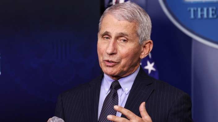 Fauci addresses the daily press briefing at the White House in Washington