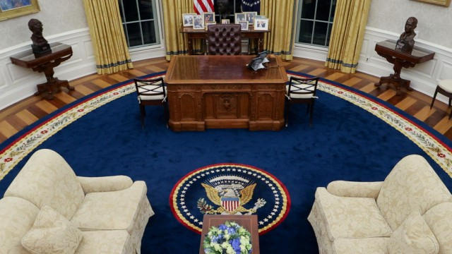 A general view shows President BidenâÄÖs redecorated Oval Office at the White House in Washington