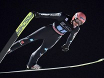 Karl Geiger of Germany during the Ski jumping, Skispringen, Ski, nordisch Team Competition HS130 at the FIS World Cup L