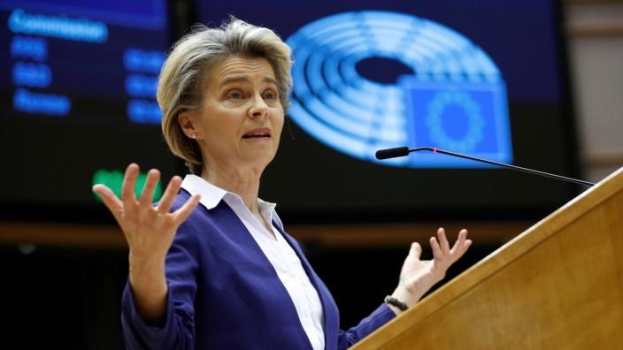 European Commission President Ursula Von Der Leyen addresses European lawmakers, in Brussels