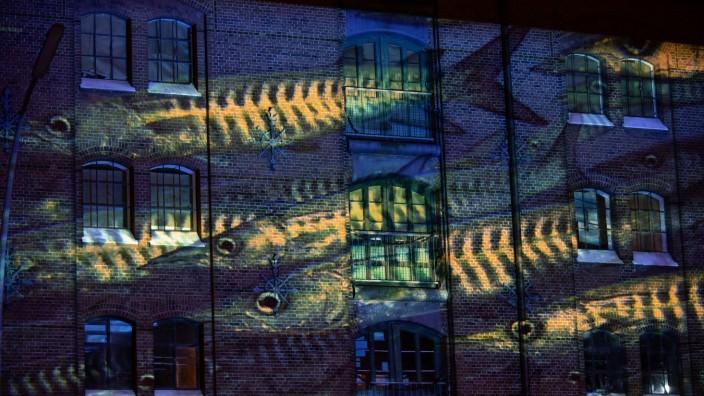 Meeres-Lichtinstallation in der Hafen-City