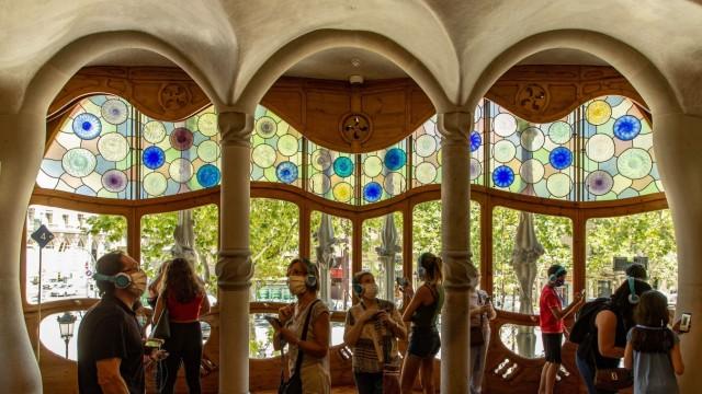 Visitors inside a Casa Batllo hall in Barcelona, Spain, 01 July 2020. Casa Batllo, one of Barcelona s most popular touri