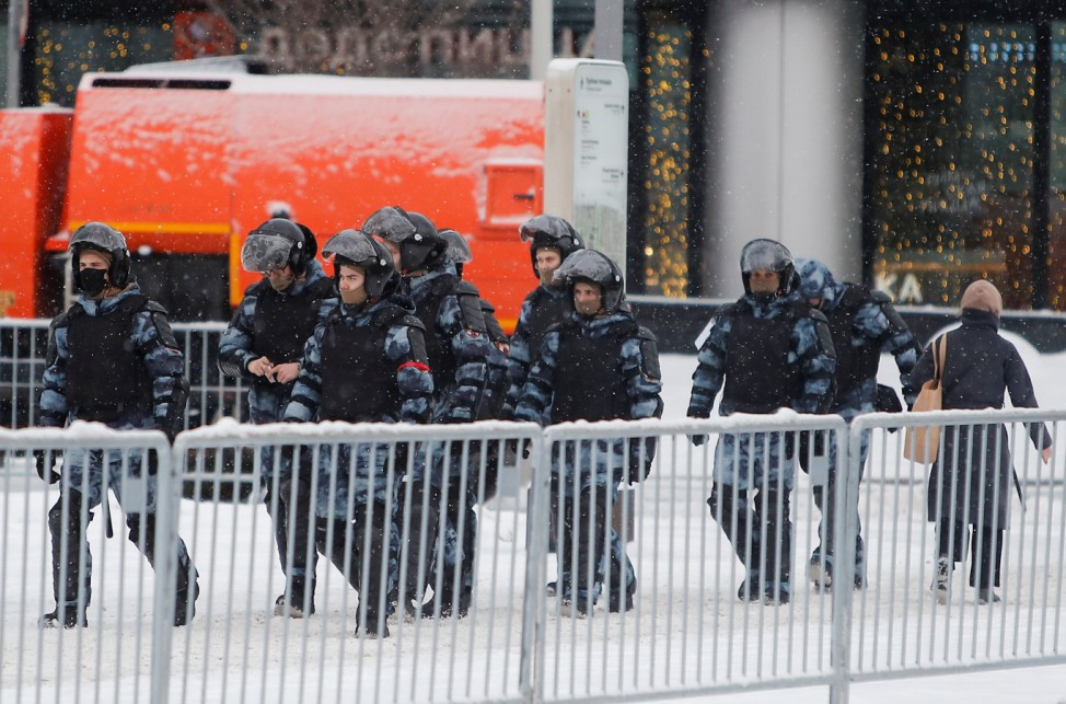 Law enforcement officers walk in the centrum of Moscow