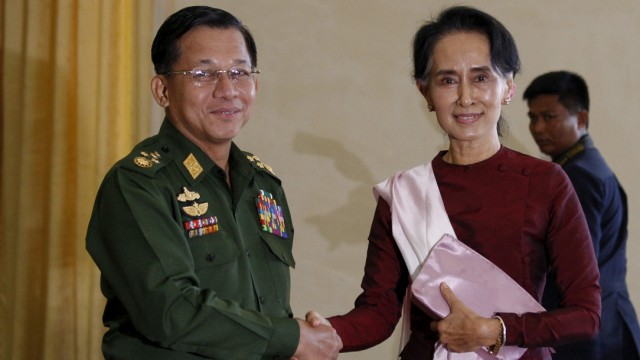 Myanmar: General Min Aung Hlaing und Aung San Suu Kyi