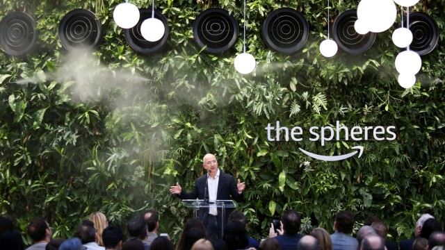 FILE PHOTO: Jeff Bezos comments after opening Amazon Spheres with Alexa