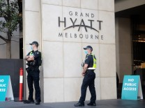 MELBOURNE, AUSTRALIA - JANUARY 21: A General View of the Grand Hyatt as Victoria Police guard the entrance on January 2