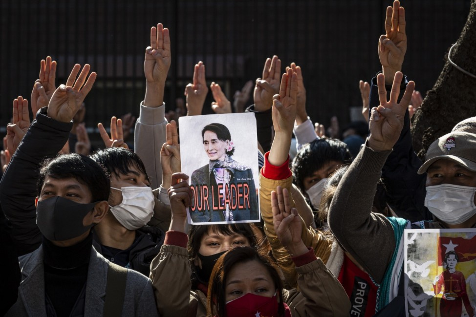 Protesters Gather At Myanmar Embassy In Tokyo