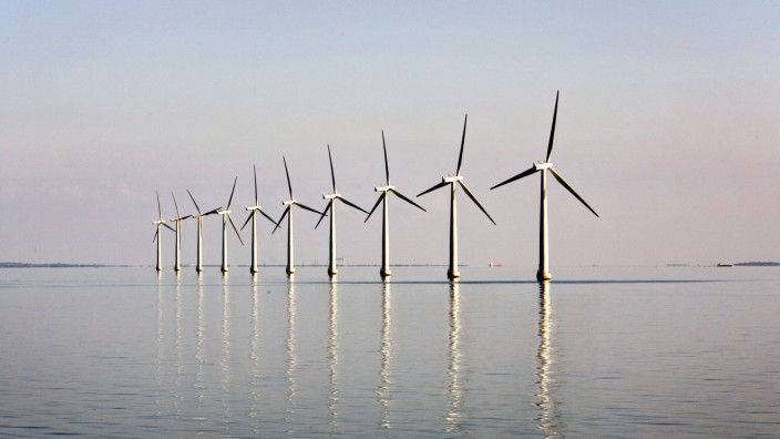 FILE PHOTO: An offshore wind farm near the windswept Danish island of Samso