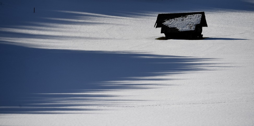 Heustadel im Schnee