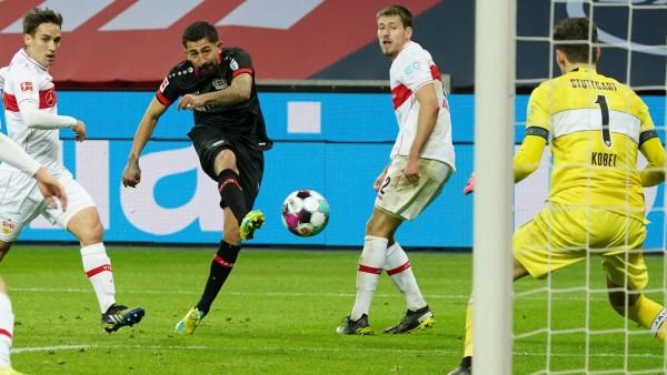 GER, 1.FBL. Bayer 04 Leverkusen vs. VfB Stuttgart / 06.02.2021, BayArena, Leverkusen, GER, 1.FBL. Bayer 04 Leverkusen v