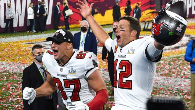 Tampa Bay Buccaneers quarterback Tom Brady and Tight End Rob Gronkowski celebrate after defeating Kansas City Chiefs in