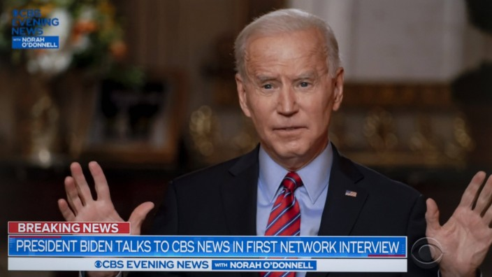 February 07, 2021, Washington, District of Columbia, USA - President JOE BIDEN sits down with Norah O Donnell for a CBS