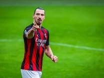 AC Milan vs FC Crotone - Serie A 2020/21 - 07/02/2021 Zlatan Ibrahimovic of AC Milan celebrates after scoring a goal du