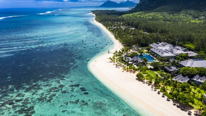 Mauritius, Helicopter view of beach and tourist resort on Le Morne Brabant peninsula in summer AMF08453