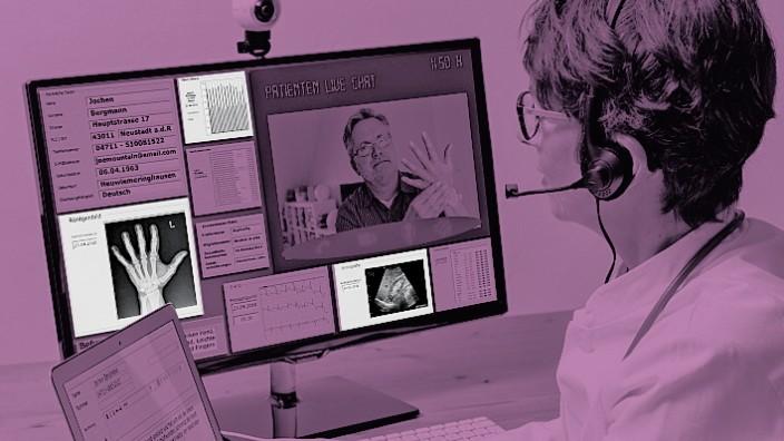Symbolfoto zur Telemedizin Ärztin in einer Praxis kommuniziert mit dem Patienten über eine Webcam