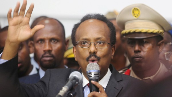 FILE PHOTO: Somalia's newly elected President Mohamed Abdullahi Farmajo addresses lawmakers after winning the vote at the airport in Somalia's capital Mogadishu