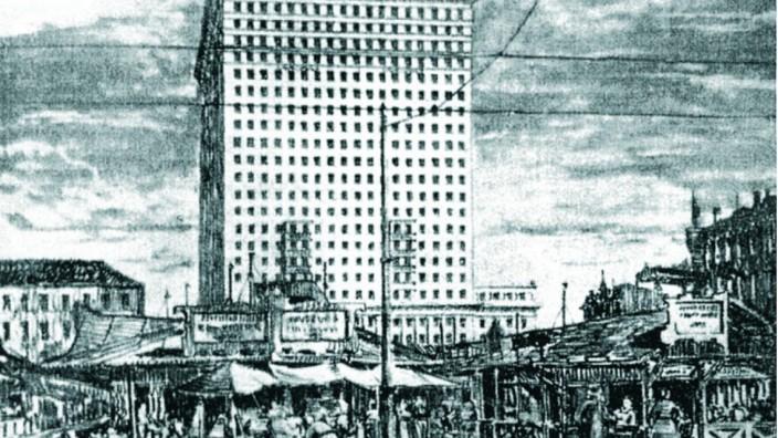 Historische Stadtplanung: Dieser Entwurf aus dem Jahr 1921 wurde freilich nie verwirklicht, aber wie man an der Zeichnung erkennen kann, gab es durchaus unbescheidene Pläne: Die Stände im Vordergrund zeigen den Viktualienmarkt, dahinter reckt sich ein massiver Bau in die Höhe. Zeichnung: Otto Orlando Kurz und Eduard Herbert, Baumeister 22, 1924