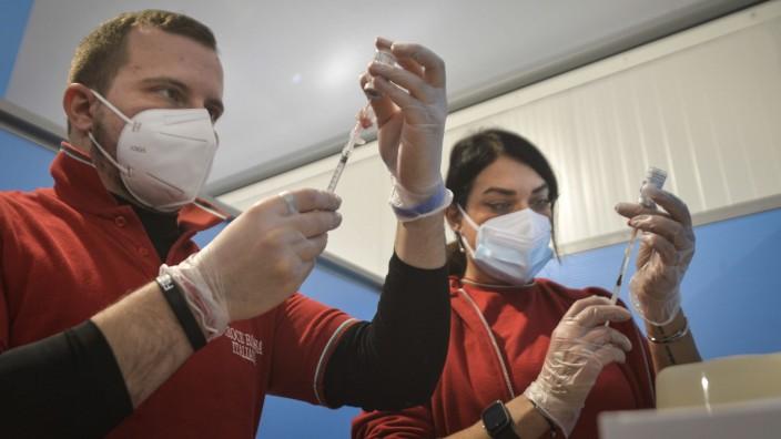 Inauguration at the Leonardo Da Vinci international airport in Fiumicino the center for anti Covid vaccines _19, in the