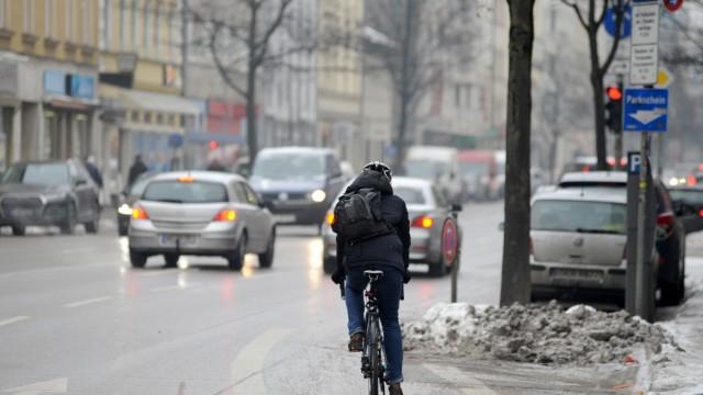 Radfahrer in der Rosenheimer Straße in München, 2017