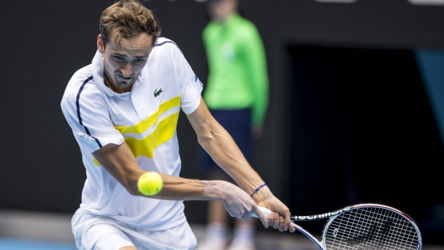 MELBOURNE, VIC - FEBRUARY 13: Daniil Medvedev of Russia returns the ball during round 3 of the 2021 Australian Open on F